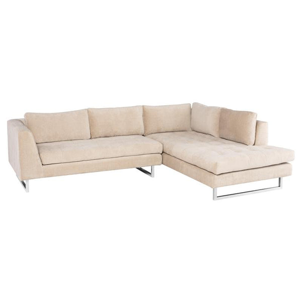 JANIS ALMOND SECTIONAL SOFA SILVER LEGS