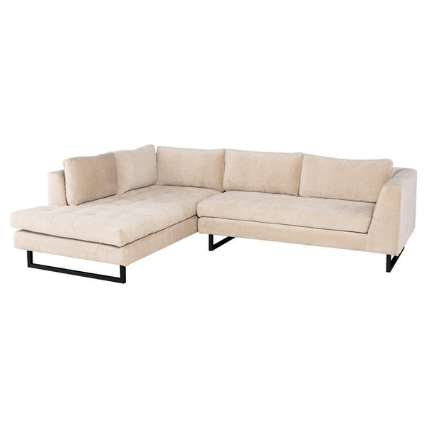 JANIS ALMOND SECTIONAL SOFA BLACK LEGS
