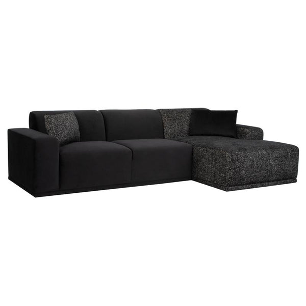LEO BLACK SECTIONAL SOFA SALT & PEPPER CHAISE