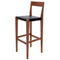 AMERI BLACK BAR STOOL WALNUT FRAME