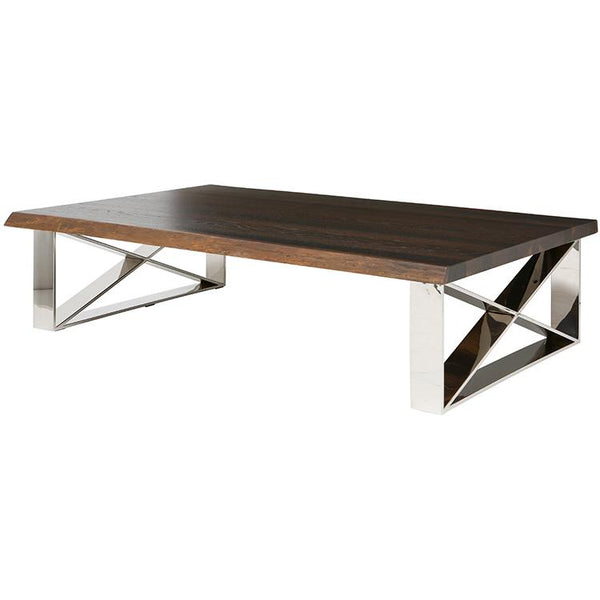 AIX SEARED COFFEE TABLE SILVER LEGS
