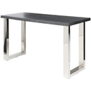 LYON OXIDIZED GREY CONSOLE TABLE SILVER LEGS