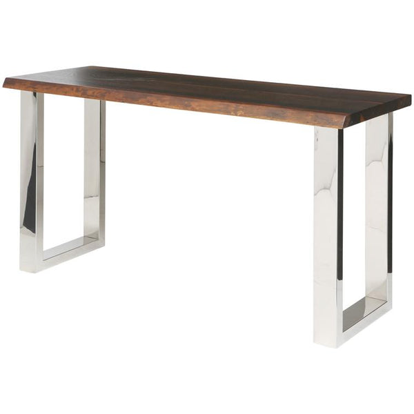 LYON SEARED CONSOLE TABLE SILVER LEGS