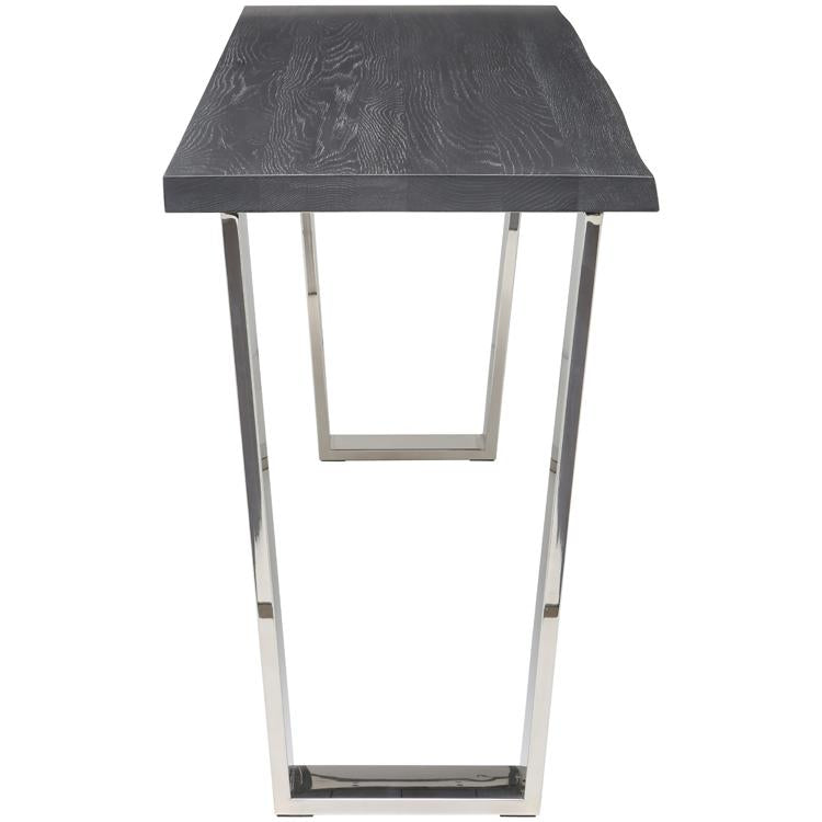 VERSAILLES OXIDIZED GREY CONSOLE TABLE SILVER LEGS