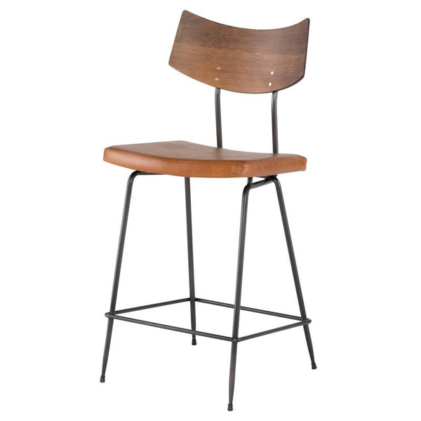 SOLI CARAMEL COUNTER STOOL SEARED BACKREST