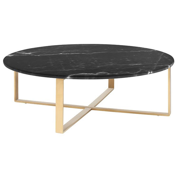 ROSA BLACK COFFEE TABLE GOLD BASE