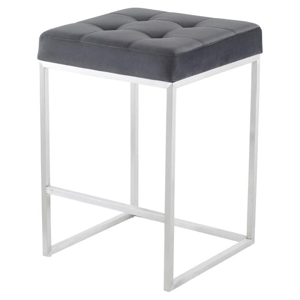 CHI TARNISHED SILVER COUNTER STOOL SILVER FRAME
