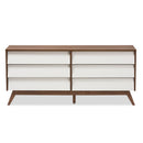 Hildon   White and Walnut Wood 6-Drawer Storage Dresser
