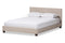 Elizabeth   Beige   Panel-Stitched Full Size Platform Bed