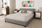 Elizabeth   Grey   Panel-Stitched Full Size Platform Bed
