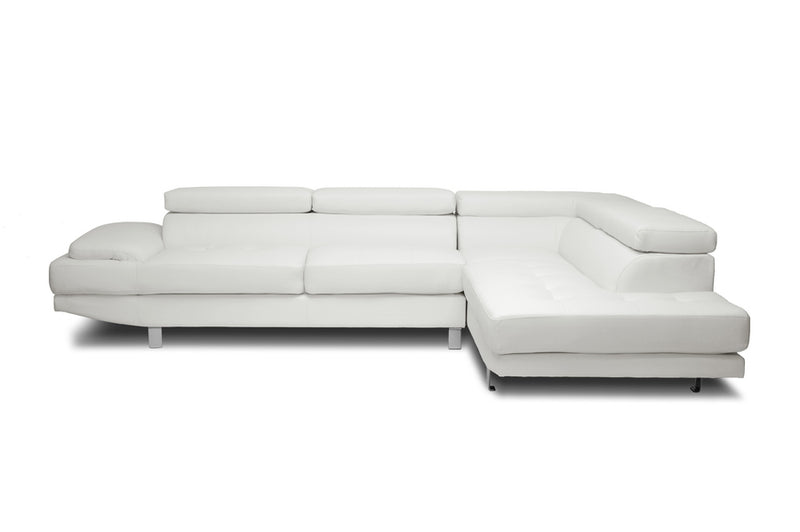 Selma White Leather Modern Sectional Sofa