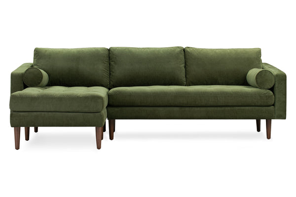 Napa Velvet Left Sectional Sofa