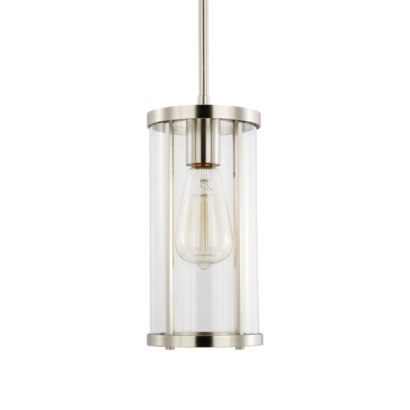 Zurich Satin Nickel and Clear Glass Pendant Light