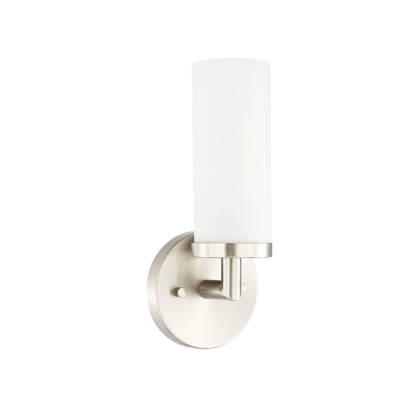 Andover Satin Nickel and Frosted Glass Upright Mini Wall Sconce