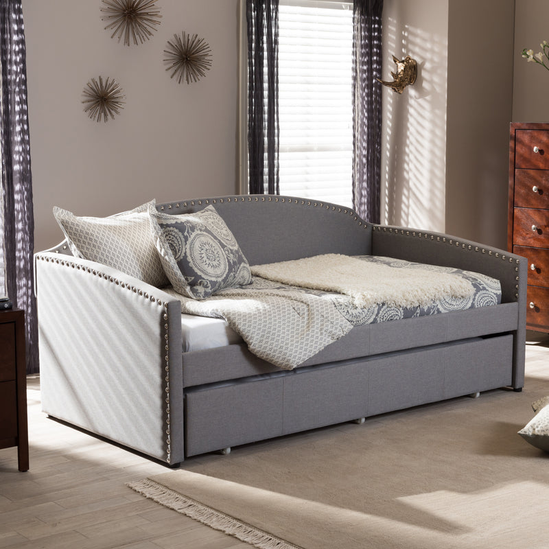 Lanny   Grey Fabric Nail Heads Trimmed Arched Back Sofa Twin Daybed with Roll-Out Trundle Guest Bed