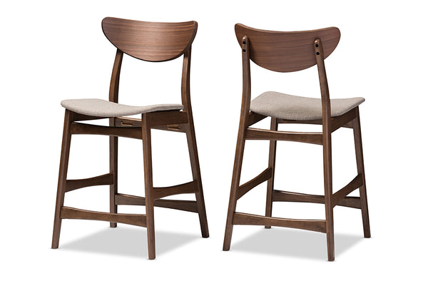 Latina Mid-century Retro Modern Scandinavian Style Light Grey   Walnut Wood Finishing 24-Inches Counter Stool (Set of 2)