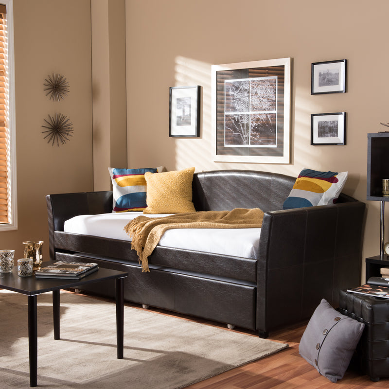 London   Brown   Leather Arched Back Sofa Twin Daybed with Roll-Out Trundle Guest Bed