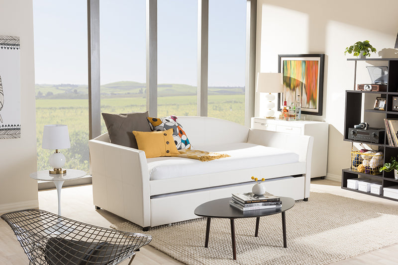 London   White   Leather Arched Back Sofa Twin Daybed with Roll-Out Trundle Guest Bed