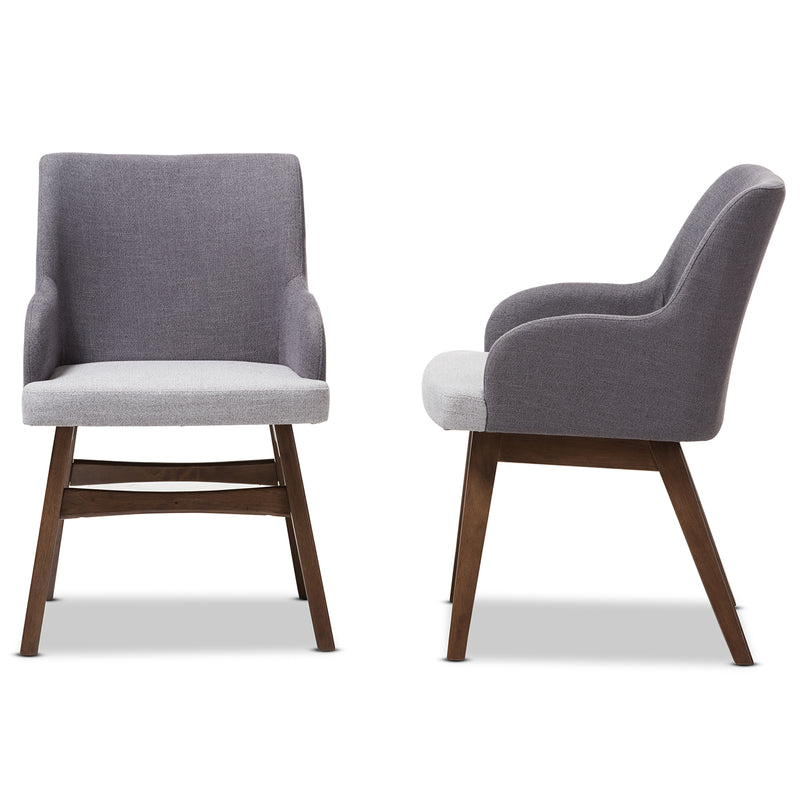 Monte Two-Tone Grey Fabric Armchair (Set of 2)