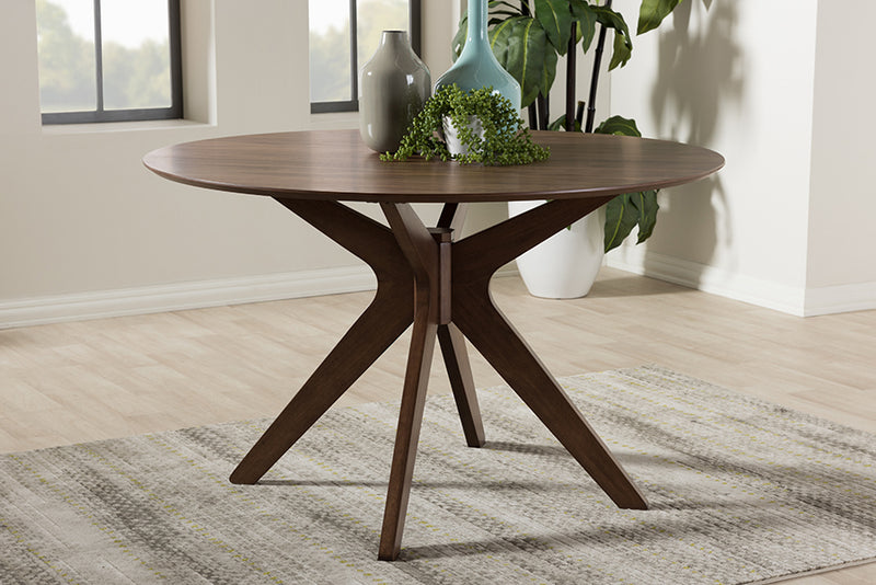 Monte Walnut Wood 47-Inch Round Dining Table