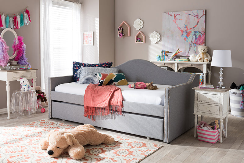 Prime   Grey   Arched Back Sofa Daybed with Roll-Out Trundle Guest Bed