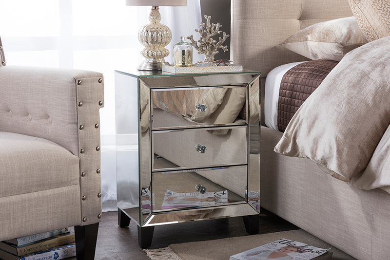 Chevron   Hollywood Regency Glamour Style Mirrored 3-Drawers Nightstand Bedside Table