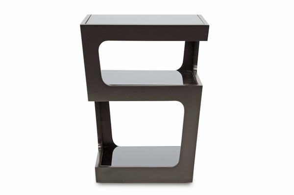 Clara Black Modern End Table with 3-Tiered Glass Shelves