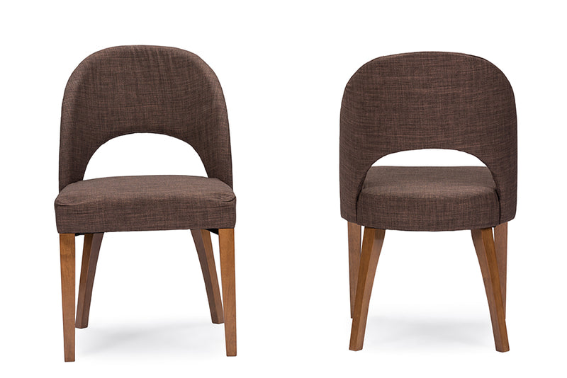 Lucas Mid-Century Style Brown Fabric Dining Chair (Set of 2)