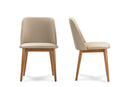 "Lavin Mid-Century ""Walnut"" Light Brown/Beige   Leather Dining Chair (Set of 2)"
