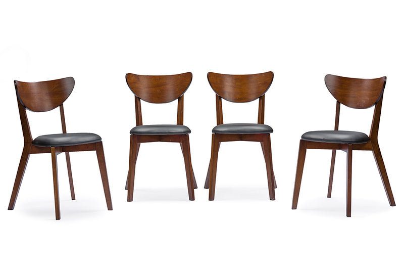 "Sumner Mid-Century Style ""Walnut"" Brown 5-Piece Dining Set"