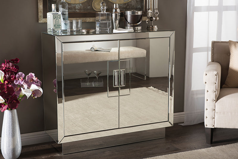 Regency   Hollywood Glamour Style 2-Door Mirrored Accent Chest Storage Cabinet