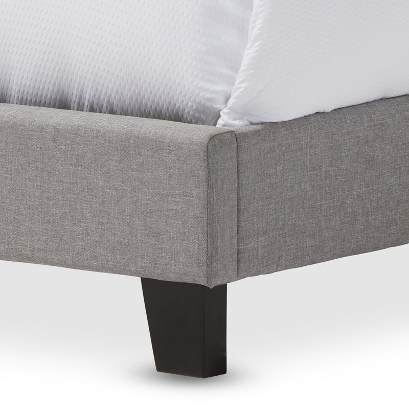 Ramon   Grey   Queen Size Bed with Nail Heads