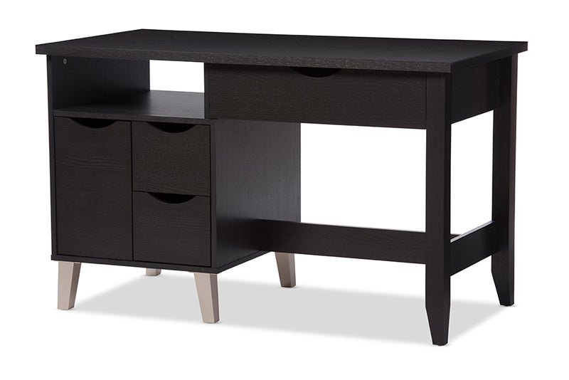 Mckenzie   Dark Brown Wood 3-Drawer Home Office Study Desk with Two Open Shelves and Two Shelves with Wood Door