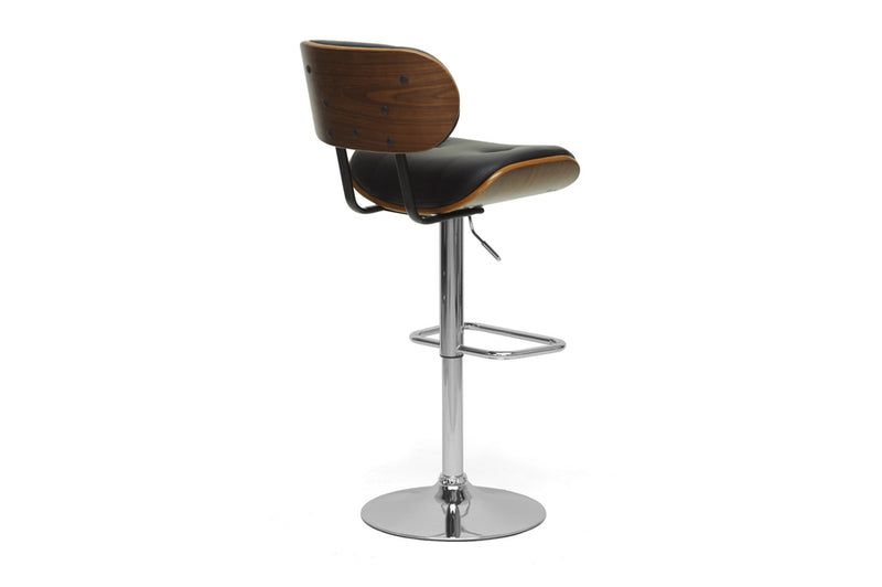 Leona Walnut and Black Modern Bar Stool