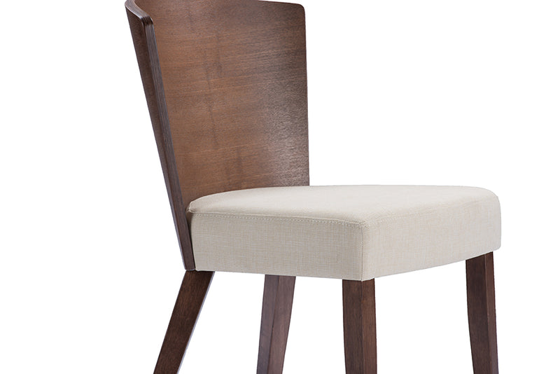 Sparrow Brown Wood and Khaki Fabric Modern Dining Chair (Set of 2)