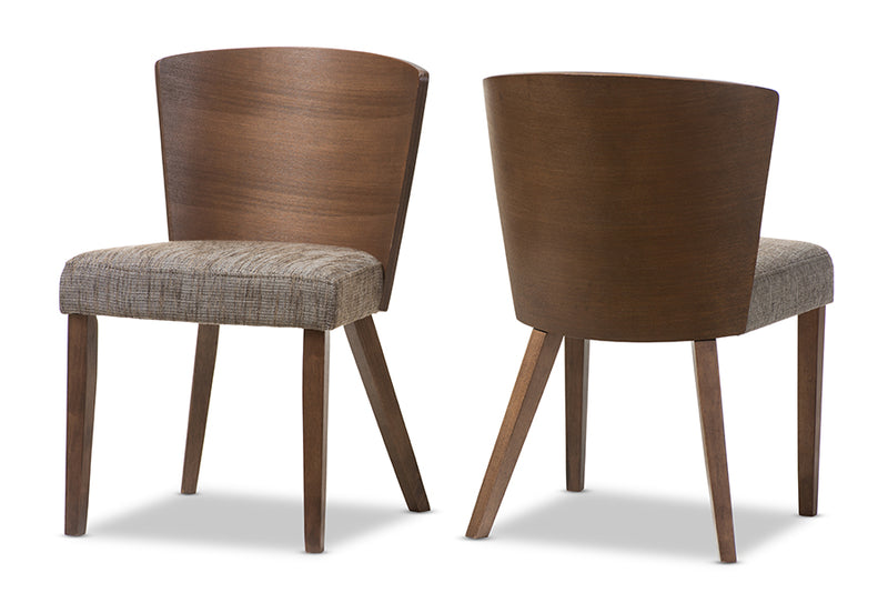 "Sparrow Brown and ""Gravel"" Wood Modern Dining Chair (Set of 2)"