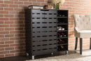 Shirley   Dark Brown Wood 2-Door Shoe Cabinet with Open Shelves