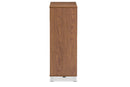 "Shirley   ""Walnut"" Medium Brown Wood 2-Door Shoe Cabinet with Open Shelves"