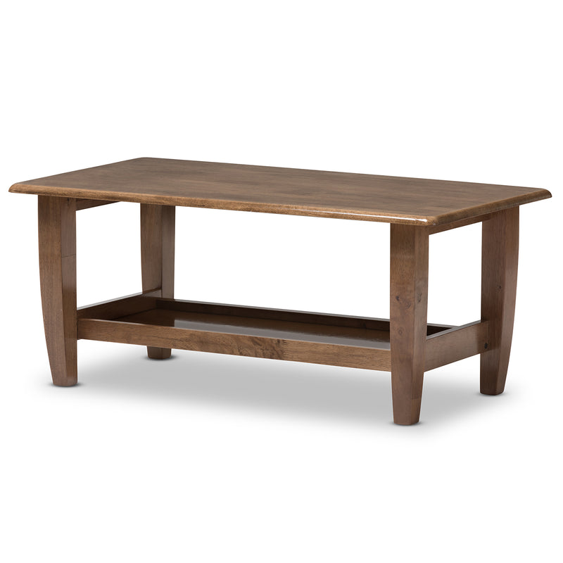Pierce   Walnut Finished Brown Wood Coffee Table