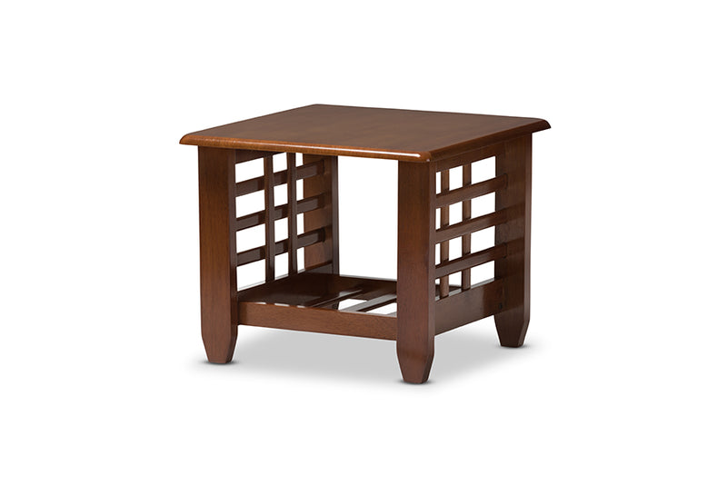 Larissa Modern Classic Mission Style Cherry Finished Brown Wood Living Room Occasional End Table