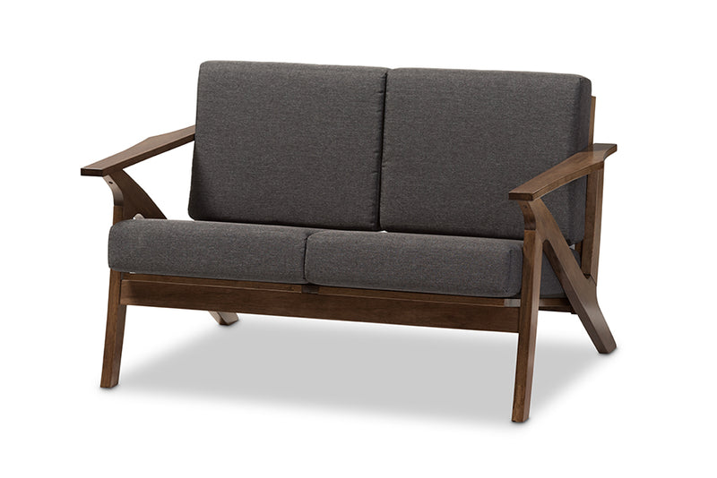 Cayla Grey Brown 2-seater Loveseat Settee