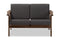 "Cayla   Grey Fabric and ""Walnut"" Brown Wood Living Room 2-seater Loveseat Settee"