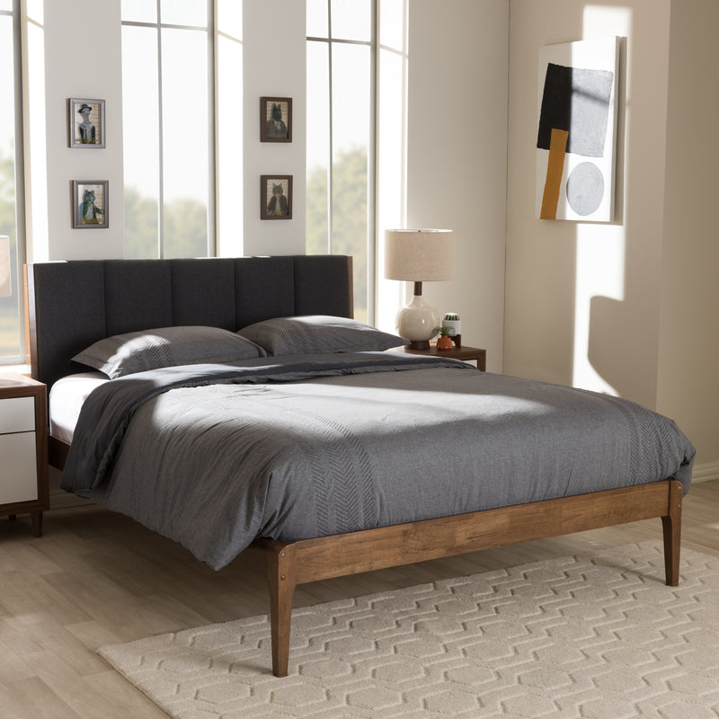 Ember Mid-Century Dark Grey Fabric and Medium Brown Finish Wood King Size Platform Bed