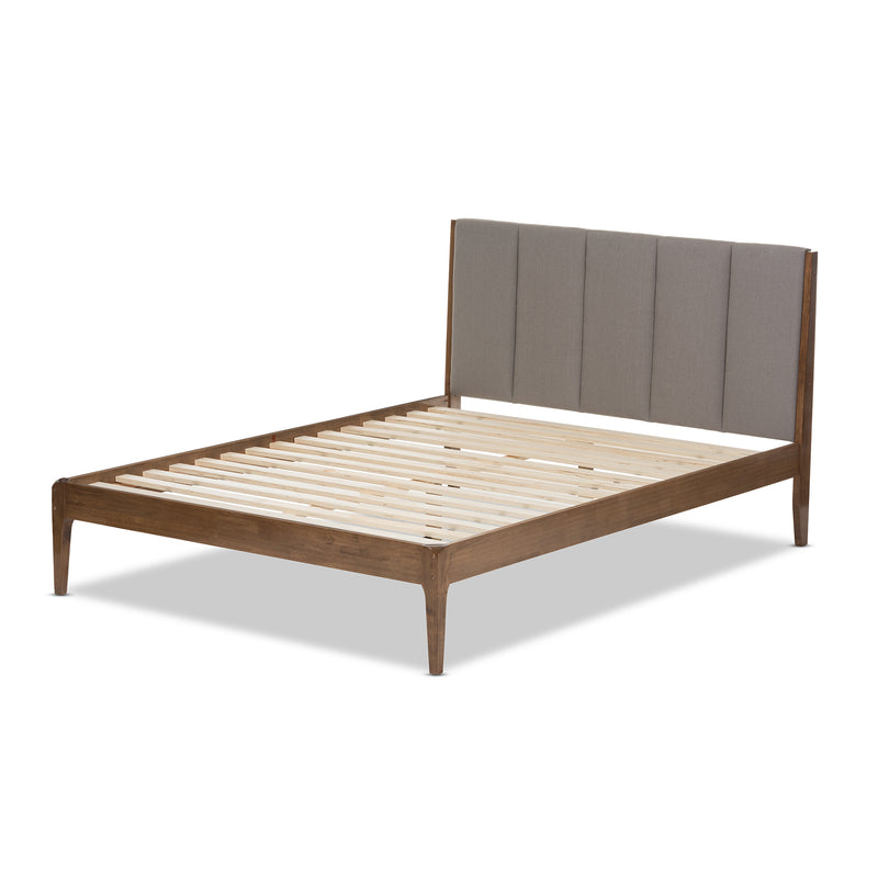 Ember Mid-Century Light Grey Fabric and Medium Brown Finish Wood Full Size Platform Bed