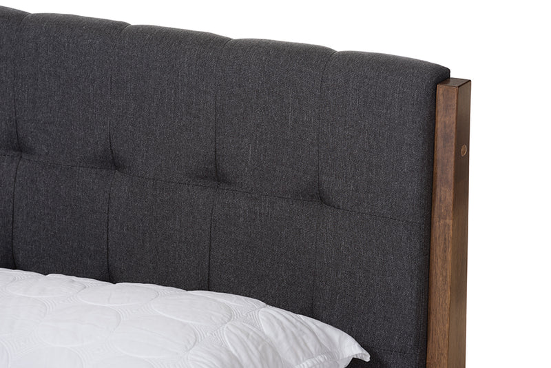 Clifford Mid-Century Dark Grey Fabric and Medium Brown Finish Wood King Size Platform Bed