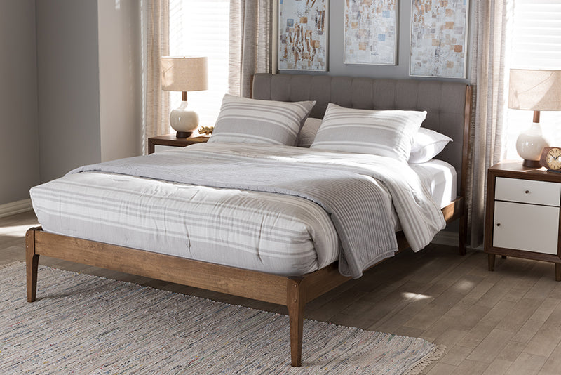 Clifford Light Grey and Brown Full Size Platform Bed