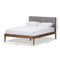 Clifford Mid-Century Light Grey Fabric and Medium Brown Finish Wood Full Size Platform Bed
