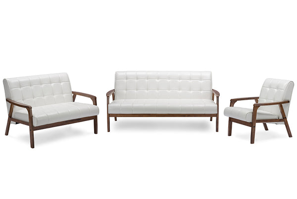 Balor 3 Pieces Living Room Set - White