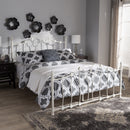 Darcy Vintage Industrial White Finished Metal Queen Size Platform Bed