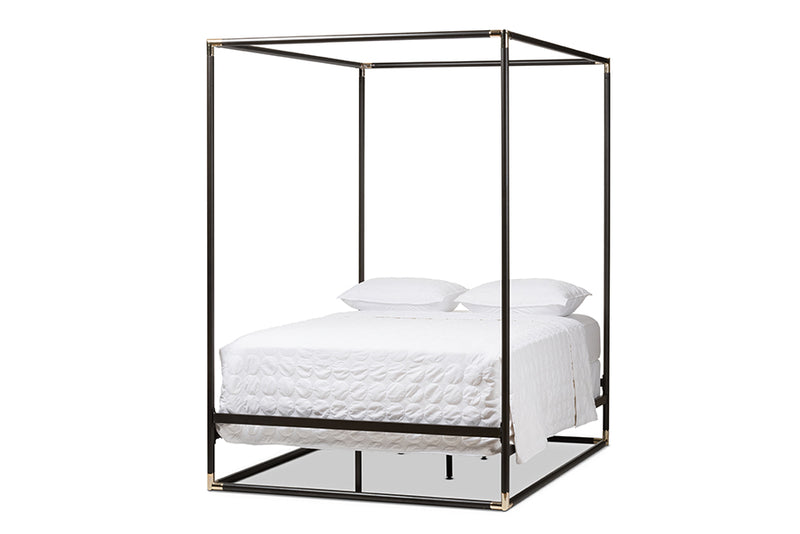 Eva Vintage Industrial Black Finished Metal Canopy Queen Bed